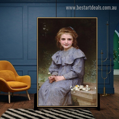 Daisies William Adolphe Bouguereau Figure Realism Reproduction Portrait Photo Canvas Print for Room Wall Garniture