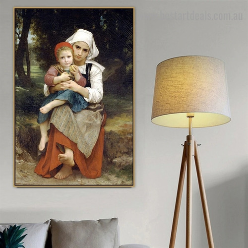 Breton Brother and Sister William Adolphe Bouguereau Figure Neoclassicism Reproduction Artwork Picture Canvas Print for Room Wall Decoration