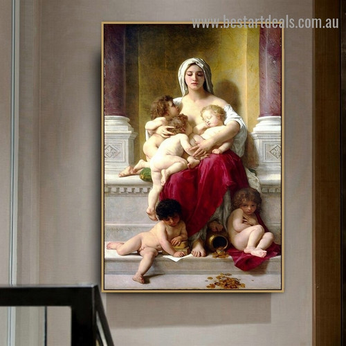 Charity William Adolphe Bouguereau Nude Neoclassicism Reproduction Artwork Image Canvas Print for Room Wall Ornament