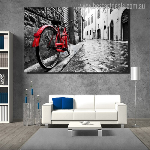 Red Bicycle Modern Cityscape Painting Canvas Print for Living Room Wall Decor