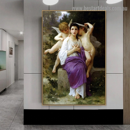 Leveil Heart William Adolphe Bouguereau Figure Realism Reproduction Portrait Painting Canvas Print for Room Wall Decoration