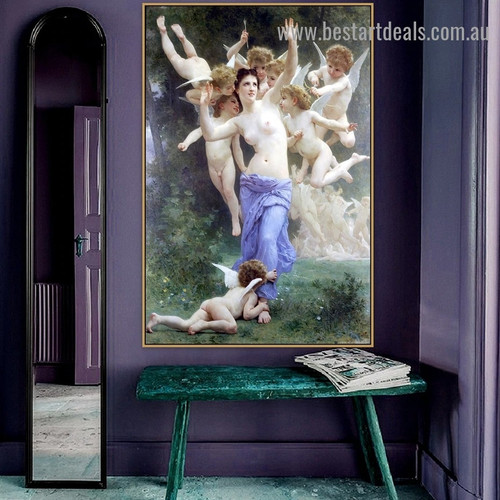 The Heart's Awakening William Adolphe Bouguereau Nude Neoclassicism Reproduction Artwork Photo Canvas Print for Room Wall Adornment