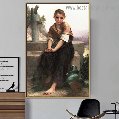 The Broken Pitcher William Adolphe Bouguereau Figure Realism Reproduction Portrait Image Canvas Print for Room Wall Adornment