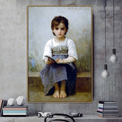 The Hard Lesson William Adolphe Bouguereau Figure Neoclassicism Reproduction Artwork Image Canvas Print for Room Wall Adornment