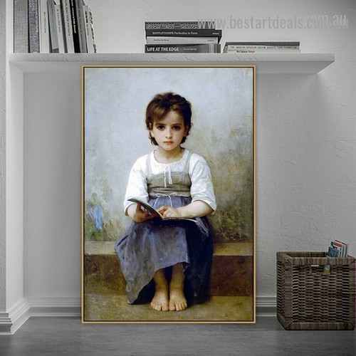 The Hard Lesson William Adolphe Bouguereau Figure Neoclassicism Reproduction Artwork Picture Canvas Print for Room Wall Décor