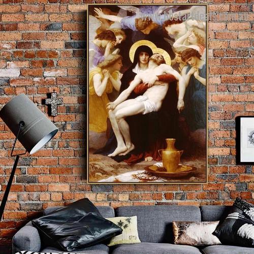 Pieta William Adolphe Bouguereau Figure Neoclassicism Reproduction Artwork Photo Canvas Print for Room Wall Ornament