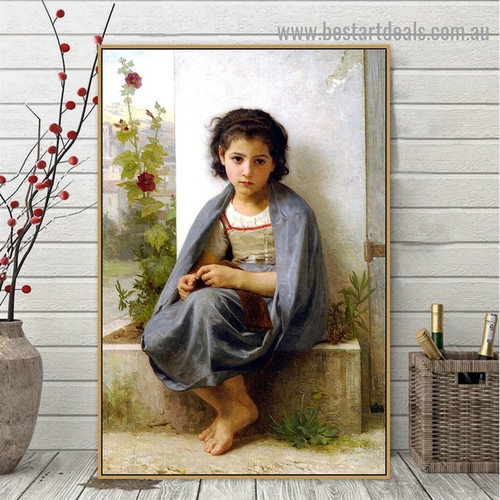 The Little Knitter William Adolphe Bouguereau Figure Neoclassicism Reproduction Artwork Photo Canvas Print for Room Wall Decoration