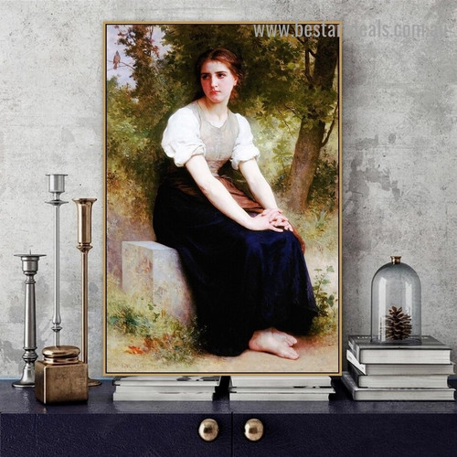 The Song of the Nightingale William Adolphe Bouguereau Figure Neoclassicism Reproduction Portrait Picture Canvas Print for Room Wall Adornment