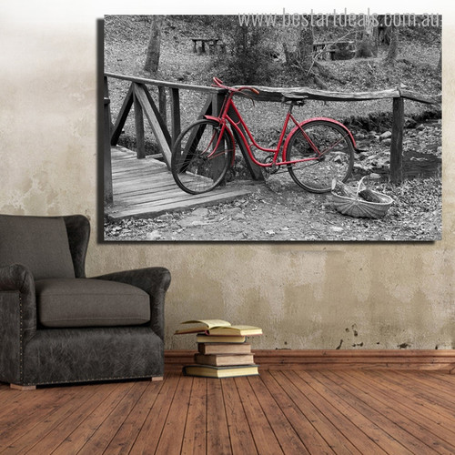 Red Bike Contemporary Landscape Painting Canvas Print for Room Wall Outfit