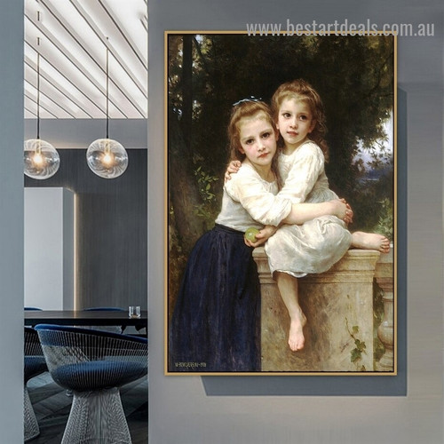 Two Sisters William Adolphe Bouguereau Figure Realism Reproduction Portrait Image Canvas Print for Room Wall Adornment