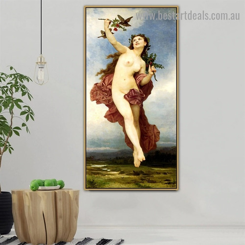 Day William Adolphe Bouguereau Nude Landscape Neoclassicism Reproduction Artwork Photo Canvas Print for Room Wall Adornment