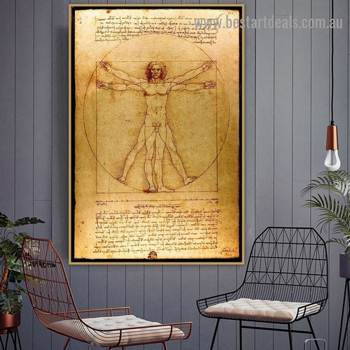 The Proportions Of the Human Figure Leonardo Da Vinci Typography High Renaissance Reproduction Artwork Picture Canvas Print for Room Wall Garniture