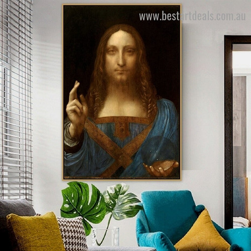 Salvator Mundi Leonardo Da Vinci Religious Figure High Renaissance Reproduction Artwork Photo Canvas Print for Room Wall Decoration