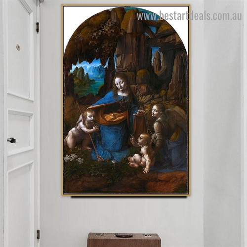 The Virgin of the Rocks Leonardo Da Vinci Religious Figure Landscape High Renaissance Reproduction Artwork Portrait Canvas Print for Room Wall Decoration