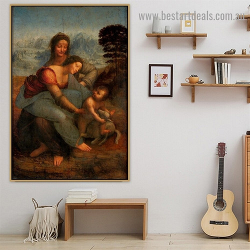 The Virgin and Child with St Anne Leonardo Da Vinci Animal Figure Landscape High Renaissance Reproduction Portrait Painting Canvas Print for Room Wall Decoration