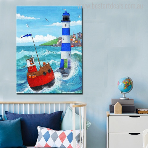 Red Ship Seascape Nature Painting Canvas Print for Room Wall Tracery