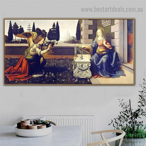 Annunciation Leonardo Da Vinci Figure Landscape Early Renaissance Reproduction Portrait Image Canvas Print for Room Wall Ornament