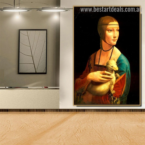 The Lady with an Ermine Leonardo Da Vinci Figure High Renaissance Reproduction Artwork Photo Canvas Print for Room Wall Adornment