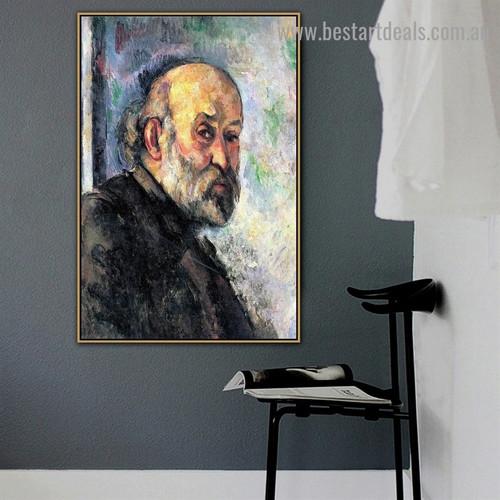 Self Portrait Paul Cézanne Figure Post Impressionism Reproduction Portrait Photo Canvas Print for Room Wall Adornment