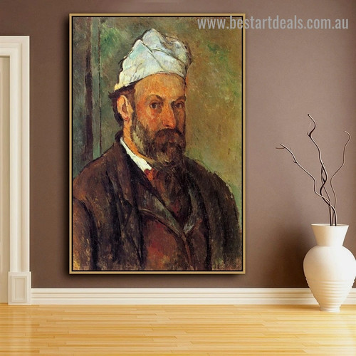 Self Portrait with White Turbaned Paul Cézanne Figure Post Impressionism Reproduction Artwork Picture Canvas Print for Room Wall Garniture
