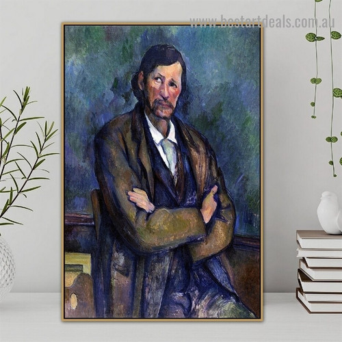 Man with Crossed Arms Paul Cézanne Figure Post Impressionism Reproduction Portrait Picture Canvas Print for Room Wall Décor