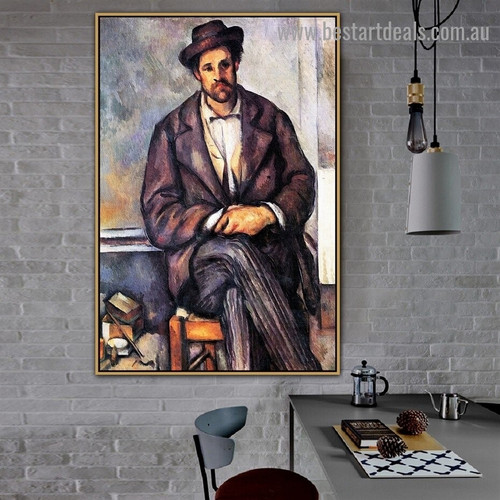 Seated Peasant Paul Cézanne Figure Post Impressionism Reproduction Artwork Painting Canvas Print for Room Wall Decoration