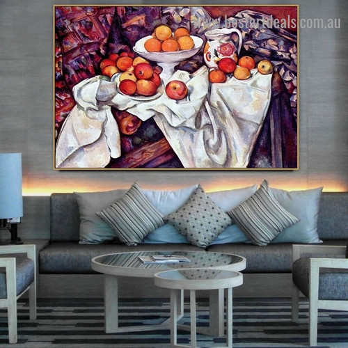 Apples and Oranges Paul Cézanne Still Life Post Impressionism Reproduction Artwork Photo Canvas Print for Room Wall Garniture