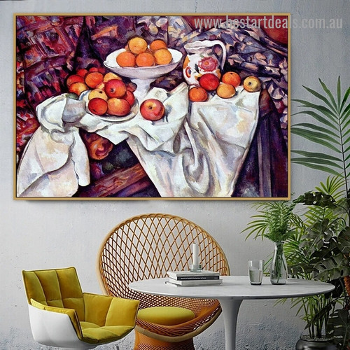 Apples and Oranges Paul Cézanne Still Life Post Impressionism Reproduction Artwork Image Canvas Print for Room Wall Decoration