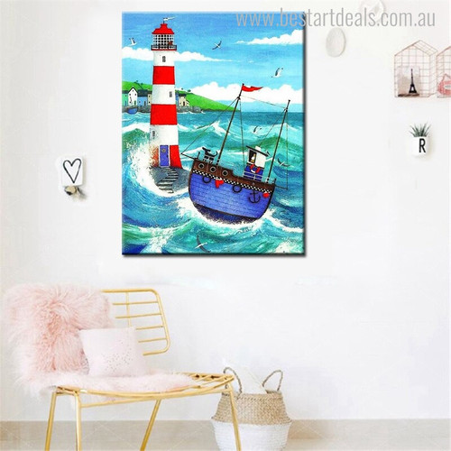 Blue Ship Seascape Nature Canvas Portrayal Image Print for Room Wall Onlay