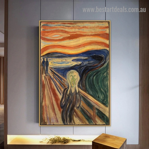 The Scream Edvard Munch Figure Abstract Expressionism Reproduction Portrait Photo Canvas Print for Room Wall Adornment