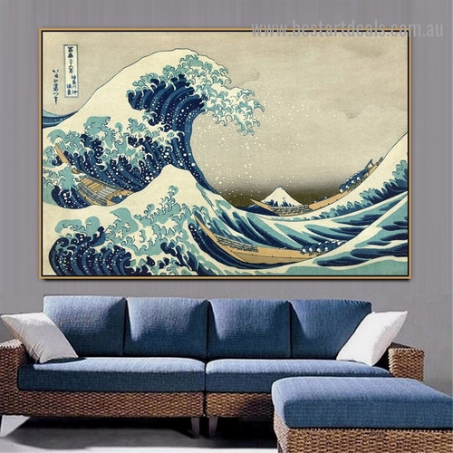 The Great Wave off Kanagawa Katsushika Hokusai Landscape Typography Ukiyo E Reproduction Artwork Picture Canvas Print for Room Wall Adornment