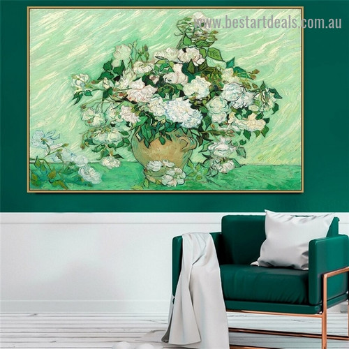 Vase with Pink Roses Vincent Willem Van Gogh Still Life Post Impressionism Reproduction Portrait Painting Canvas Print for Room Wall Décor