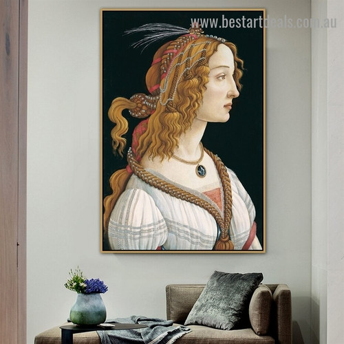 Portrait of a Young Woman Sandro Botticelli Figure Early Renaissance Reproduction Artwork Photo Canvas Print for Room Wall Garniture