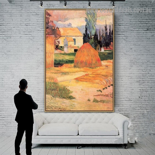Landscape Near Arles Paul Gauguin Post Impressionism Portrait Photo Canvas Print for Room Wall Ornament