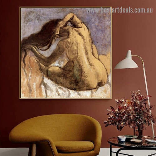Woman Combing Her Hair Edgar Degas Nude Impressionism Artwork Photo Canvas Print for Room Wall Adornment