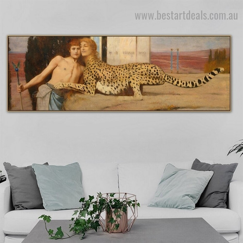 The Sphinx or the Caress Fernand Khnopff Animal Figure Landscape Symbolism Reproduction Portrait Picture Canvas Print for Room Wall Garniture