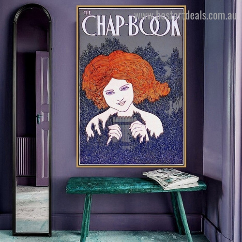 The Chap Book Vintage Typography Figure Botanical Artwork Photo Canvas Print for Room Wall Garniture