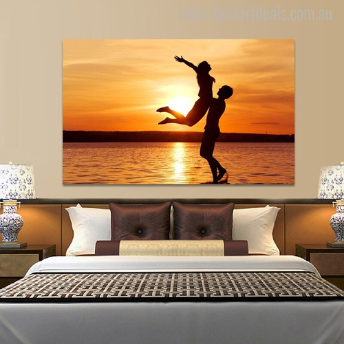 Sunset Nature Landscapes Portraiture Canvas Print for Bedroom Wall Drape