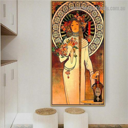 The Trappistine Alphonse Mucha Modern Botanical Figure Advertisement Retro Poster Artwork Portrait Canvas Print for Room Wall Décor
