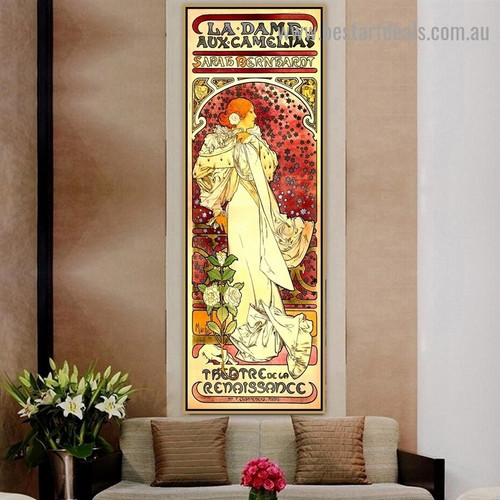 The Lady of the Camellias Alphonse Mucha Vintage Typography Botanical Figure Retro Advertising Poster Artwork Portrait Canvas Print for Room Wall Adornment