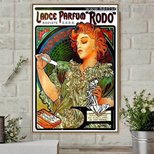 Lance Parfum Rodo Modern Typography Figure Retro Reproduction Advertisement Artwork Photo Canvas Print for Room Wall Garniture