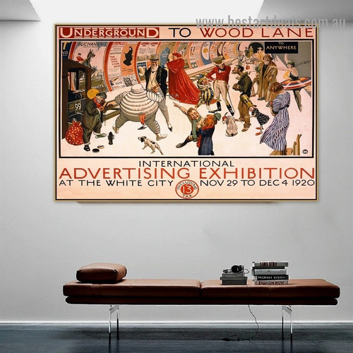 Underground to Wood Lane Vintage Typography Figure City Retro Advertisement Artwork Image Canvas Print for Room Wall Adornment