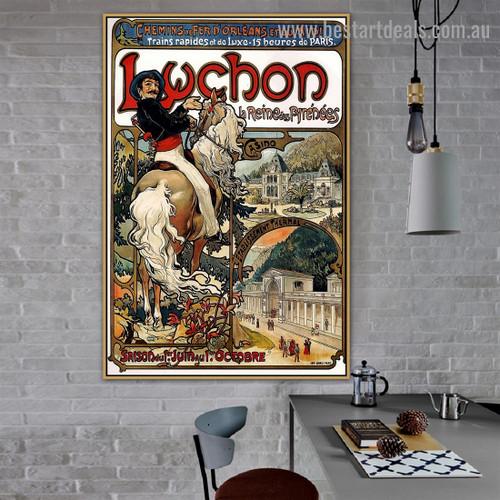 Luchon Alphonse Mucha Vintage Typography Animal Figure City Retro Advertising Poster Artwork Photo Canvas Print for Room Wall Garniture