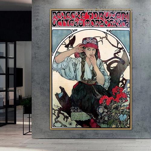 Moravian Teachers0 Choir Alphonse Mucha Vintage Typography Botanical Figure Retro Advertising Poster Artwork Image Canvas Print for Room Wall Ornament