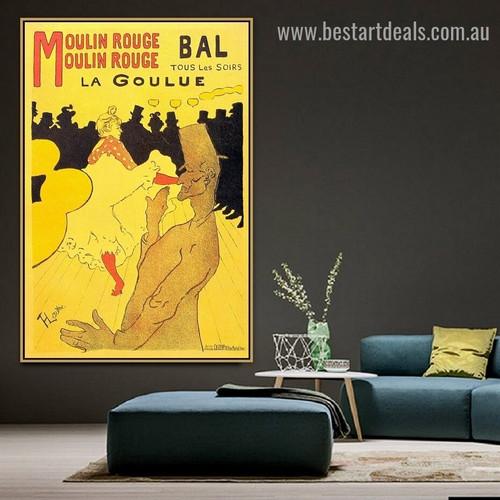 Moulin Rouge La Goulue Henri de Toulouse Lautrec Vintage Figure Retro Advertisement Artwork Picture Canvas Print for Room Wall Adornment