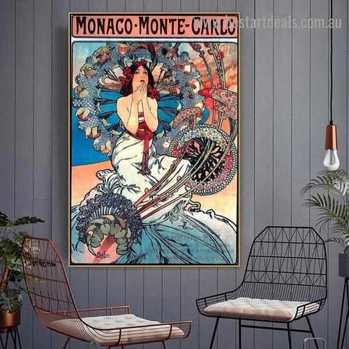 Monaco Monte Carlo Alphonse Mucha Figure Landscape Vintage Advertisement Retro Vintage Artwork Image Canvas Print for Room Wall Ornament