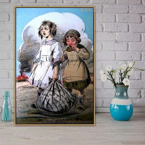 Orphans Alfred Ost Vintage Landscape Figure Retro Reproduction Poster Artwork Picture Canvas Print for Room Wall Decoration