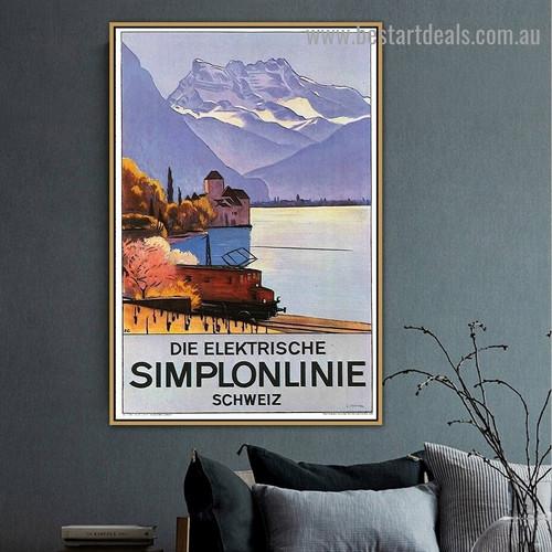 Plakat Simplonlinie Montreux 1928 Vintage Landscape Travel Advertisement Retro Poster Artwork Portrait Canvas Print for Room Wall Décor