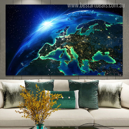Earth in Space Nature Modern Picture Canvas Print for Lounge Room Wall Getup