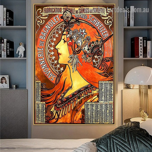 Soap Factory of Bagnolet Alphonse Mucha Modern Figure Retro Advertisement Artwork Picture Canvas Print for Room Wall Adornment